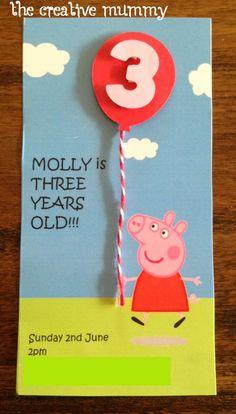 Peppa Pig Birthday Invitations Fresh Molly's Peppa Pig Party Invitacion Peppa Pig, Cumple Peppa Pig, Third Birthday, 3rd Birthday Parties, Birthday Ideas, Peppa Pig Party Supplies, Peppa Pig Birthday Invitations, Party Favor Bags, Party Time