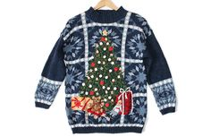 Big Christmas Tree Chunky Knit Slouch Tacky Ugly Sweater Women's Size Medium/Large (M/L) $30