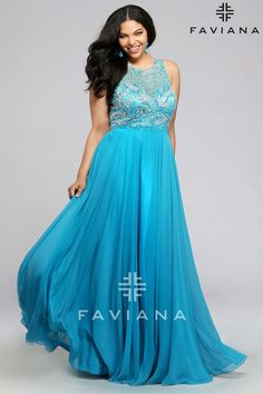 Faviana 9374 is a long chiffon plus size prom gown with beaded bodice and flowing skirt.