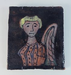 H.H. Kamerlingh Onnes (1893 –1985), studio pottery wall tile with angel, 1958