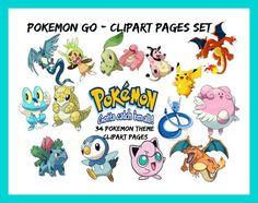 """Pokemon Go """"Gotta Catch 'Em All"""" 34 Pokémon Theme Clipart Pages-Set, Pokemon Image, Pikachu Image, Pokemon Transfer Template by ArtMyWaybyKEBlevins on Etsy"""