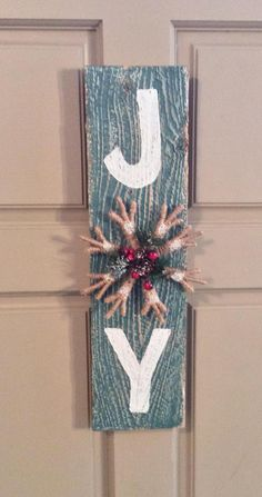 Christmas JOY wood sign rustic decor shabby distressed fixer