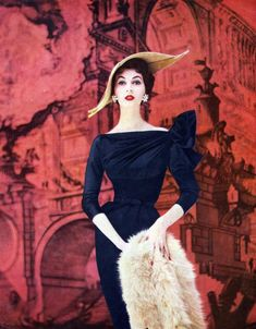 Dovima by Enka Rayon for Vogue - mid 1950s