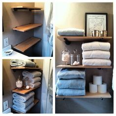 Small bathroom ideas. DIY shelves using plumber pipe