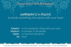 Hungarian: szétfejelni [sˈeːtfɛjɛlni] – to break something into pieces with your head. lefejelni [lˈefɛjɛlni] – to hit somebody/something with your head. lefejezni [lˈefɛjɛzni] – to behead; to decapitate. [Literally::: to down-head him/her] Your Head, Language Arts, Funny, Fun Stuff, Books, Wordpress, Hungary, Fun Things, Libros