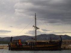 new built old croatian boat in Marina Betina, island of Murter