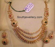 Differing Necklace Designs three layers cz necklace in medium size and xpphgbx - Jewelry Amor Gold Jewelry Simple, Gold Jewellery Design, Fancy Jewellery, Designer Jewellery, Jewelry Patterns, Necklace Designs, Indian Jewelry, Indian Necklace, Necklace Set