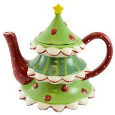 Tabletop TREE SHAPED TEA POT 118977 Christmas New on eBay!