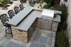 L shape kitchen island with bar top