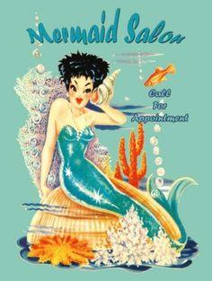 Mermaid Salon Metal Sign, bath decor, home decorating on eBay!