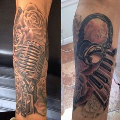 Music tattoo black and grey