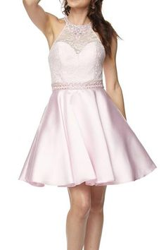 A-Line Short Cocktail and Party Dress has Lace Overlaid Sleeveless Bodice  with Beading Adorned 233f24425