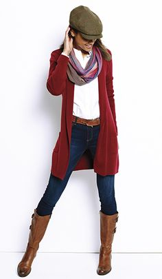 Long Open Merino Wool Cardigan / Everyday Merino Long Cardigan - Orvis - Stitch fix style - Fall Outfit Red Cardigan Outfits, Long Red Cardigan, Winter Cardigan Outfit, Pullover Outfit, Legging Outfits, Open Cardigan, Fall Fashion Outfits, Fall Winter Outfits, Casual Outfits