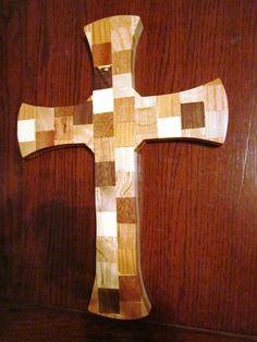 Multiple wood species decorative cross