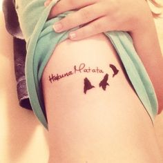 The King Lion Hakuna matata disney quote tattoos on rib -  Hakuna matata