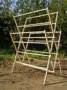 Laundry off grid on pinterest off grid washing machines for Wooden clothes drying rack plans
