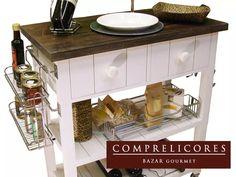 mesa auxiliar isla de cocina con barral cromado pintada
