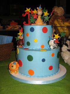 Amy Beck Cake Design - Chicago, IL - Jungle dots birthday cake with lion, monkey, zebra and giraffe - #amybeckcakedesign