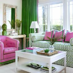 Home Decorating Style 2016 for Pink And Green Living Room Ideas, you can see Pink And Green Living Room Ideas and more pictures for Home Interior Decorating Style 2016 16830 at Beautiful Pink Decoration. Living Room Green, Green Rooms, Living Room Decor, Living Spaces, Living Rooms, Sala Tropical, Deco Miami, Home Interior, Interior Design
