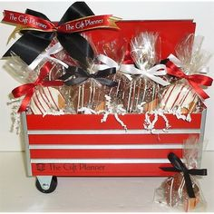 One-of-a-kind custom rolling mechanics tool box filled with 12 custom chocolate dipped fortune cookies. Clients will love this desktop toolbox. Replica of a mechanic's rolling toolcart. Corporate Gift Baskets, Corporate Gifts, Business Gifts, Business Card Holders, Tool Cart, Going Away Gifts, Custom Chocolate, Company Gifts, Certificate Design
