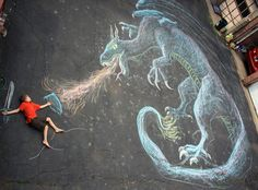 Dragon slayer - A beautiful piece of chalk art, made even cooler by the little human intervention. Chalk Photography, Creative Photography, Photography Ideas, Photo Illusion, Animation Photo, Chalk Pictures, Art Simple, Photos Originales, Sidewalk Chalk Art