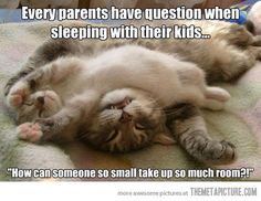 Every parents have questions when sleeping w/ their kids...How can someone so small take up so much room?
