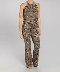 Look at this #zulilyfind! Black & Tan Geometric Yoke Jumpsuit - Plus #zulilyfinds