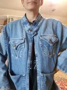 I had a couple blue jeans my husband asked me to fix but were unfixable and a pair of my own which did not fit me anymore. I decided to make a jacket out of them. With his jeans, I could make the back and sides of the front. With my jeans I could make the arms. So I cut out the legs. I cut out the pockets to apply later. I also cut out the waist band of my jeans to use as the collar. So I had to remove the little things were the belt goes (can't remember what they are called… Granny Square Sweater, Old Sweatshirt, Refashioned Clothes, His Jeans, Denim Crafts, Plunge Dress, Next Fashion, Blue Jean Jacket, Loungewear Set
