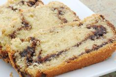 Nutella Swirl Pound Cake: 1 cups flour, plus more for dusting pan 4 large eggs, at room temperature and lightly beaten 2 tsp vanilla extract tsp baking powder tsp salt 2 sticks unsalted butter, softened 1 cups sugar One jar Nutella Preheat the oven to Just Desserts, Delicious Desserts, Dessert Recipes, Yummy Food, Dessert Bread, Sweet Desserts, Muffins, Pound Cake Recipes, Pound Cakes