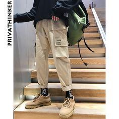 230ef97653 Pantalones de carga Vintage de hombres de Privathinker 2018 hombres Hiphop  caqui bolsillos Joggers pantalones de
