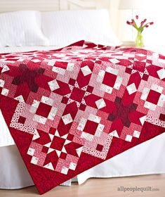 Scrappy red-and-white star blocks capture your heart in the throw. Cleverly mixed prints make three versions of the same star block Free pattern from All People Quilt. Lap Quilts, Patchwork Quilting, Mini Quilts, Quilt Blocks, Star Blocks, Quilt Kits, Quilting Fabric, Quilting Projects, Quilting Designs