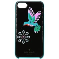 Kate Spade New York Jeweled Hummingbird Phone Case for iPhone 7 (Black... ($45) ❤ liked on Polyvore featuring accessories, tech accessories, kate spade and iphone smartphone