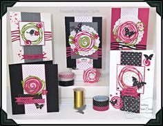 set of handmade greeting cards from KOCreations Stampin' Up! Blog ... Swirly bird ... black and white with pops of hot pink ... luv them all ...