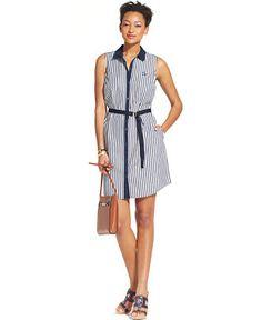 Tommy Hilfiger Belted Elle Striped Shirt-Dress - Dresses - Women - Macy's