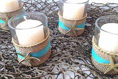 Set of 6 beach wedding votivewith burlap with by omorfigiadesigns, $20.00