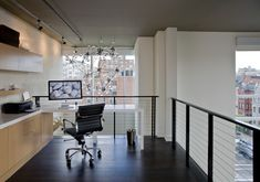 Industrial Home Office Design Idea - Not sure how much work I would actually get done with this view, but I love all the light and space.