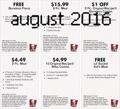 Kfc Coupons PROMO expires May 2020 Hurry up for a BIG SAVERS KFC is a well-known chicken restaurant chain in the United States. Kfc Coupons, Love Coupons, Grocery Coupons, Coupons For Boyfriend, Coupon Stockpile, Free Printable Coupons, Extreme Couponing, Coupon Organization, Kids Meals