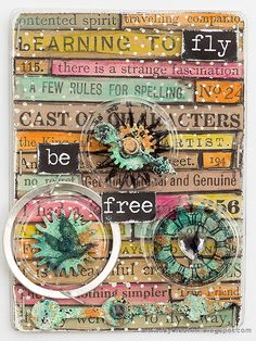 Layers of ink - Recycle Words ATC Tutorial by Anna-Karin. Artist Trading Card made for the Simon Says Stamp Monday Challenge Blog, using Tim Holtz idea-ology products and packaging, as well as Dina Wakley / Ranger Scribble Sticks.