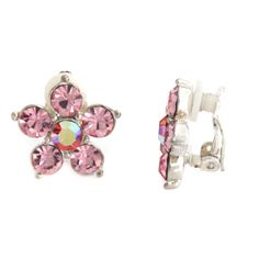Pairs Crystal Pink Flower Clip On Earrings #Diamantjewels #Flower qvcx