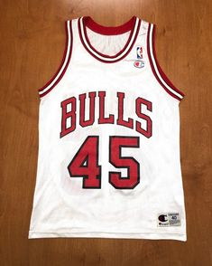 f705089e40b5 Vintage 1995 Michael Jordan Chicago Bulls 45 Champion Jersey Size 40 nba  finals hat shirt scottie pippen authentic air jumpman