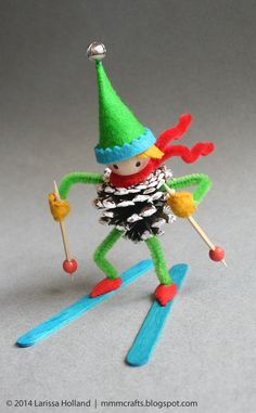 handmade gifts downhill skier ornament for trent (mmmcrafts) - Handmade Jewelry 💍 Christmas Ornament Crafts, Christmas Crafts For Kids, Christmas Projects, Felt Crafts, Kids Christmas, Holiday Crafts, Holiday Fun, Christmas Decorations, Pinecone Ornaments