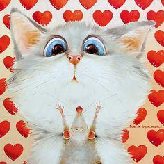 Cat Mouse, Cat Lady, Dog Cat, Owl, Artsy, Bird, Art Prints, Animals, Cat Illustrations