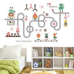 Cartoon Robot Road Wall Stickers Kids Boys Room Decoration 3d Cartoon Movie Mural Ar Diy Home Decals Children Gift #Affiliate