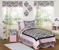 Amazon.com: Pink and Black Sophia Teen Bedding 3pc Full / Queen Set by Sweet Jojo Designs: Home & Kitchen