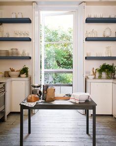 Vintage meets modern open shelving kitchen