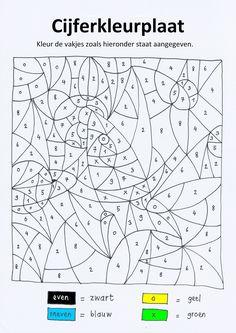 Cijferkleurplaat 'ruimte' met even/ oneven (getallen tot 10) voor kleuters die uitdaging nodig hebben of voor groep 3-4