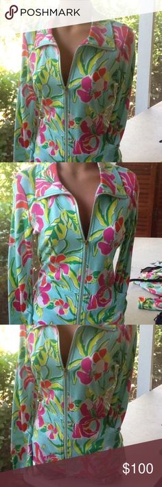 """NWT!! Island Republic Floral Zip Up Jacket This is an authentic ISLAND REPUBLIC resort jacket!  Measurements are taking laying flat unestretched on one side. Get the Lilly look for less!! 🙅NOT LILLY PULITZER🙅 brand is ISLAND REPUBLIC🙅 Bust 17"""" Waist 16"""" Hips 22"""" Length 26"""" Lilly Pulitzer Jackets & Coats"""