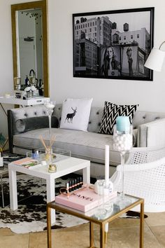 Apartment Therapy Small Spaces Living Room: Lauryns Glam Meets Bohemian San Diego Home — House. Glam Living Room, Home And Living, Living Rooms, Living Room Inspiration, Interior Inspiration, Interior Exterior, Interior Design, Diy Home Decor, Room Decor