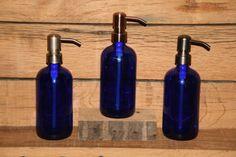 Cobalt Blue Glass Pint Jar Soap Dispenser with Metal Pump - Cobalt Blue 16oz Jar Lotion Bottle - Stainless, Copper or Bronze Soap Pump on Etsy, $16.65