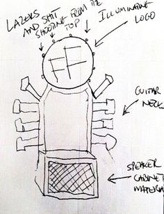 Dave Grohl's sketch of his throne, which he's using on tour while recovering from an injury.